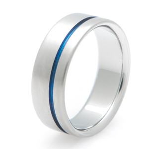 Thin Blue Line Titanium Ring