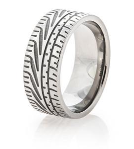 Men's Titanium Goodyear Eagle F1 Super Car Tire Tread Ring