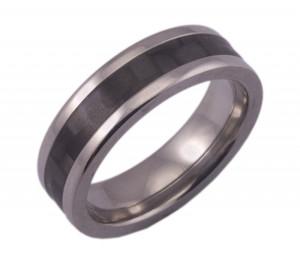 Flat Titanium Ring with 4mm Carbon Fiber