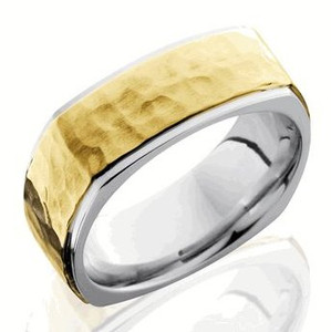 Square Hammered Gold Ring
