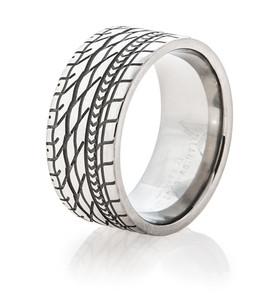Men's Titanium Goodyear Eagle Tire Tread Band