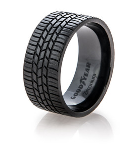 Men's Black Goodyear Integrity Tire Tread Ring
