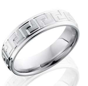 Men's Grooved Edge Cobalt Chrome Greek Key Ring