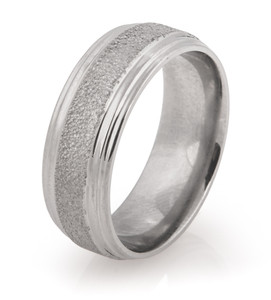 Double Groove Edge Artic Titanium Wedding Ring