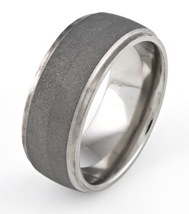 Men's Polished Grooved Edge Titanium Sandblasted Ring