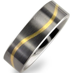Flat Profile Titanium Wave Inlay Band