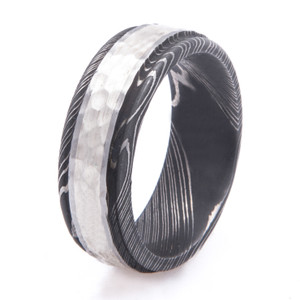 Men's Acid Damascus Steel Ring with Hammered Sterling Silver Inlay