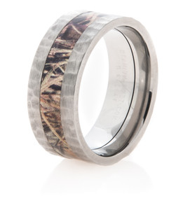 Hammered Titanium Camo Ring
