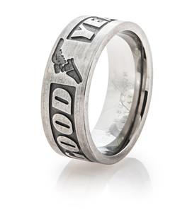 Men's Titanium Goodyear Logo Ring