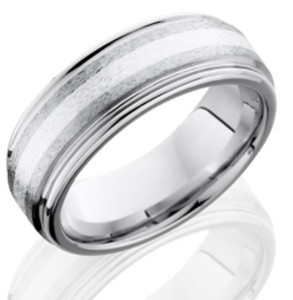 Men's Grooved Edge Cobalt Ring with Sterling Silver Inlay