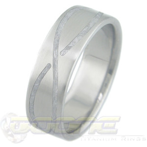 Men's Titanium Gibeon Meteorite Ring with Infinity Inlay