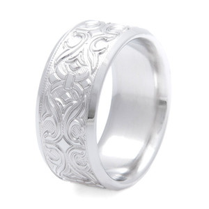 Men's Embellished Titanium Country Wedding Ring