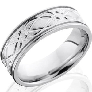 Men's Grooved Edge Complex Celtic Design Cobalt Chrome Ring