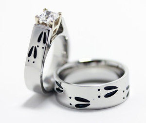 Matching Deer Track Wedding Rings