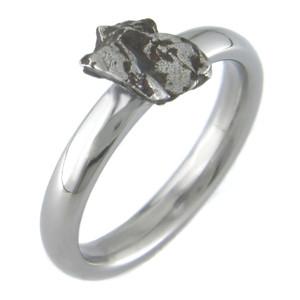 Women's Titanium Solitaire Meteorite Engagement Ring