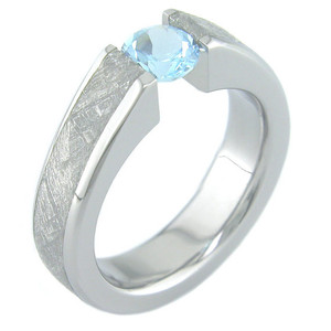 Women's Titanium Venus Tension Set Meteorite Engagement Ring