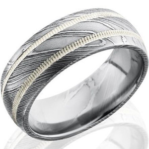 Men's Acid Finish Damascus Steel Ring with Dual Milled Grooves