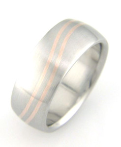 Dual Inlay Titanium Wave Ring