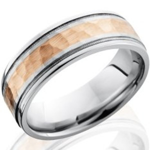 Men's Hammered Cobalt Ring with Dual Milled Grooves and Gold Inlay