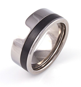 Men's Titanium Upper West Side Ring with Offset Black Zirconium Inlay