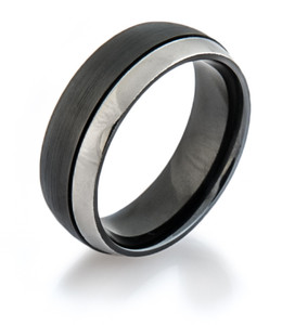Two Tone Zirconium Offset Ring