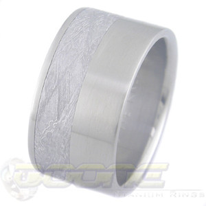 Men's Wide Titanium Offset Gibeon Meteorite Ring