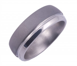 Sandblasted Titanium Ring with Offset Groove