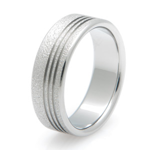 Offset Grooves Titanium Frost Ring