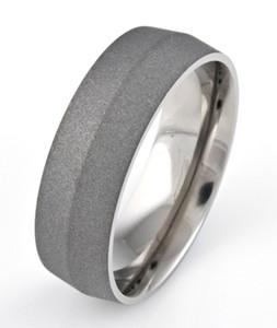 Men's Titanium Sandblasted Ring with Peaked Center