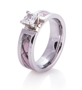 Women's Cobalt Chrome Realtree AP Pink Camo Engagement Ring