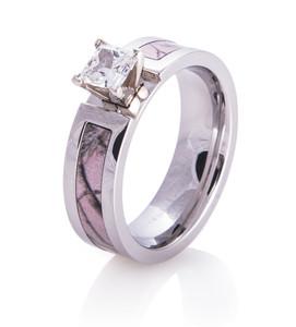 Women's Cobalt Chrome Realtree AP Pink Camo Engagement Ring