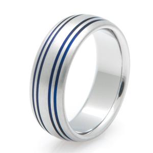 Quad Inlay Blue Titanium Ring