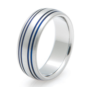 Quad Inlay Blue Titanium Ring