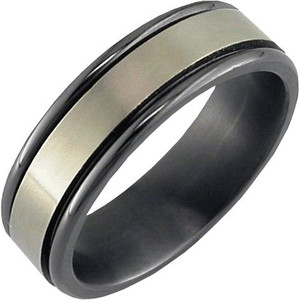 Flat Profile Zirconium Ring with Edge Rails