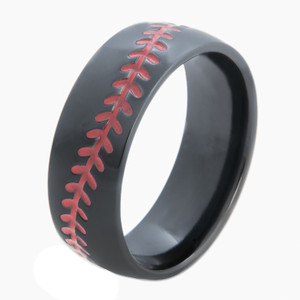 Men's Black Baseball Ring with Stitching