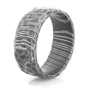 Men's Rock-Style Acid Finish Damascus Steel Ring
