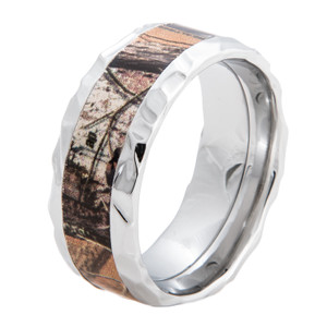 Cobalt Rock Hammered Camo Ring