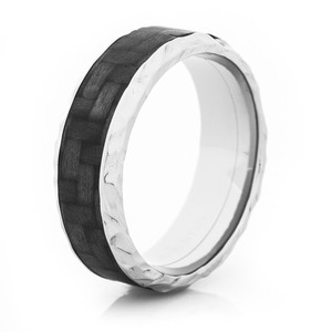 Rock Hammered Carbon Fiber Ring