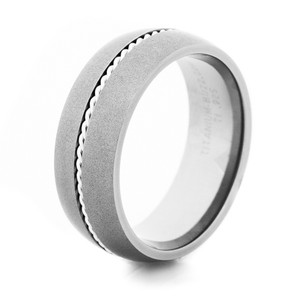 Men's Gunmetal Titanium Western-Style Ring with Sterling Silver Braid