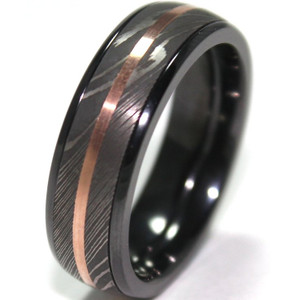 Men's Black Zirconium Ring with Damascus Steel and Rose Gold Inlays