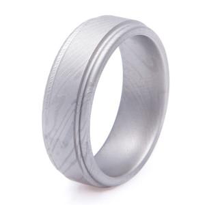 Men's Grooved Edge Gunmetal Finish Damascus Steel Ring