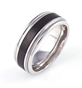 Men's Grooved Edge Cobalt Yankee Ring with Black Zirconium Inlay