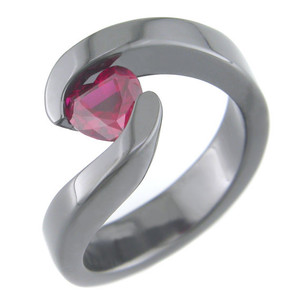 Flowing Black Zirconium Ruby Heart Ring