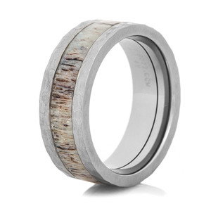 Hammered Antler Inlay Ring