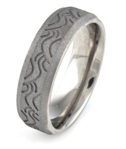 Men's Wave Pattern Titanium Sandblasted Ring
