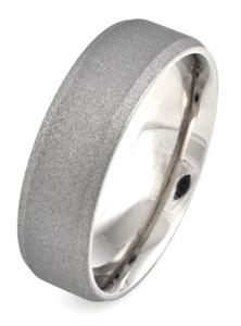 Men's Beveled Edge Titanium Sandblasted Ring