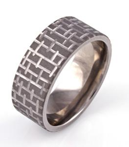 Sandblasted Textured Mens Ring