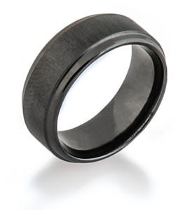 Black Zirconium Ring with Cross Satin Finish