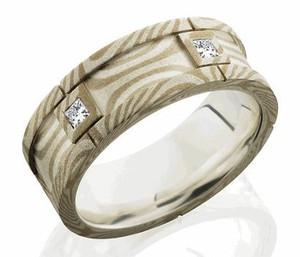 Diamond Segmented Mokume Gane Ring