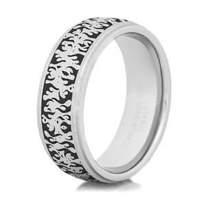 Men's Grooved Edge Cobalt Flame Ring